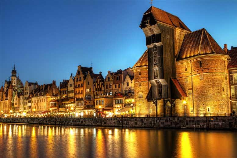 Centro de la ciudad de Gdansk de noche - Tour Gdansk Clásico en español con guía privado
