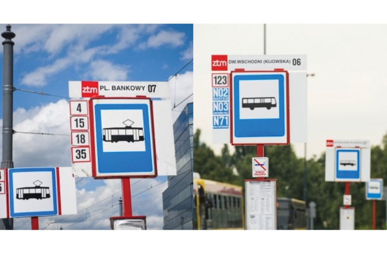 Paradas de autobus y tranvia en Varsovia