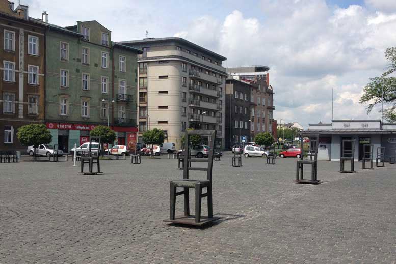 Plaza de los Heroes del Gueto de Cracovia - Tour Podgorze en español con guía privado